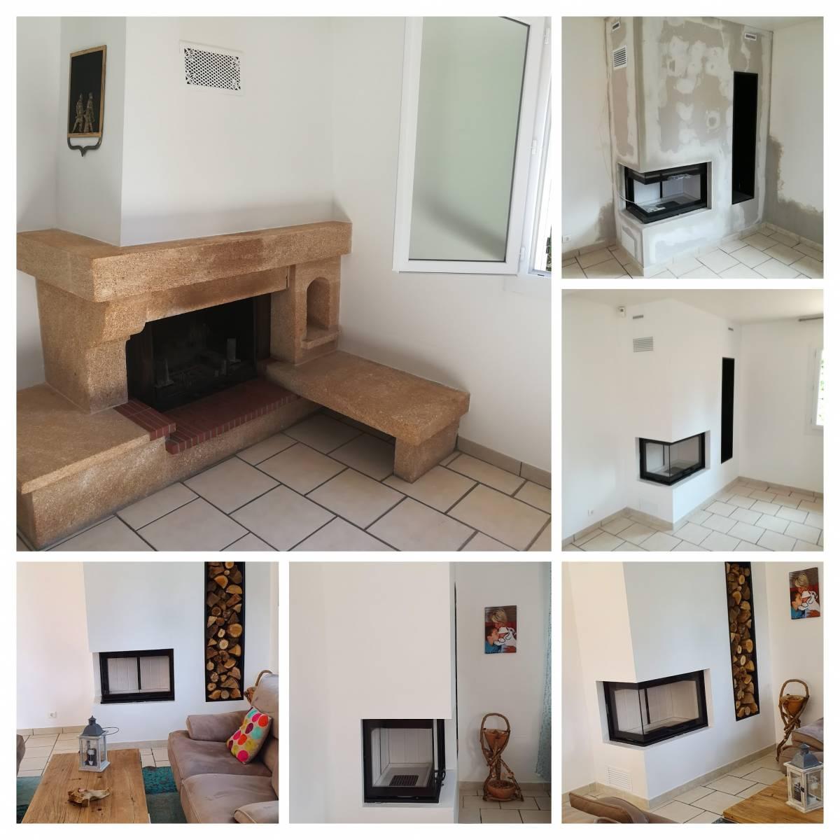 Installation D Un Foyer De Cheminee Avec Vitre Lateral A Salon De Provence Vente De Foyers Et Poeles A Bois Sur Avignon Cheminees Conception